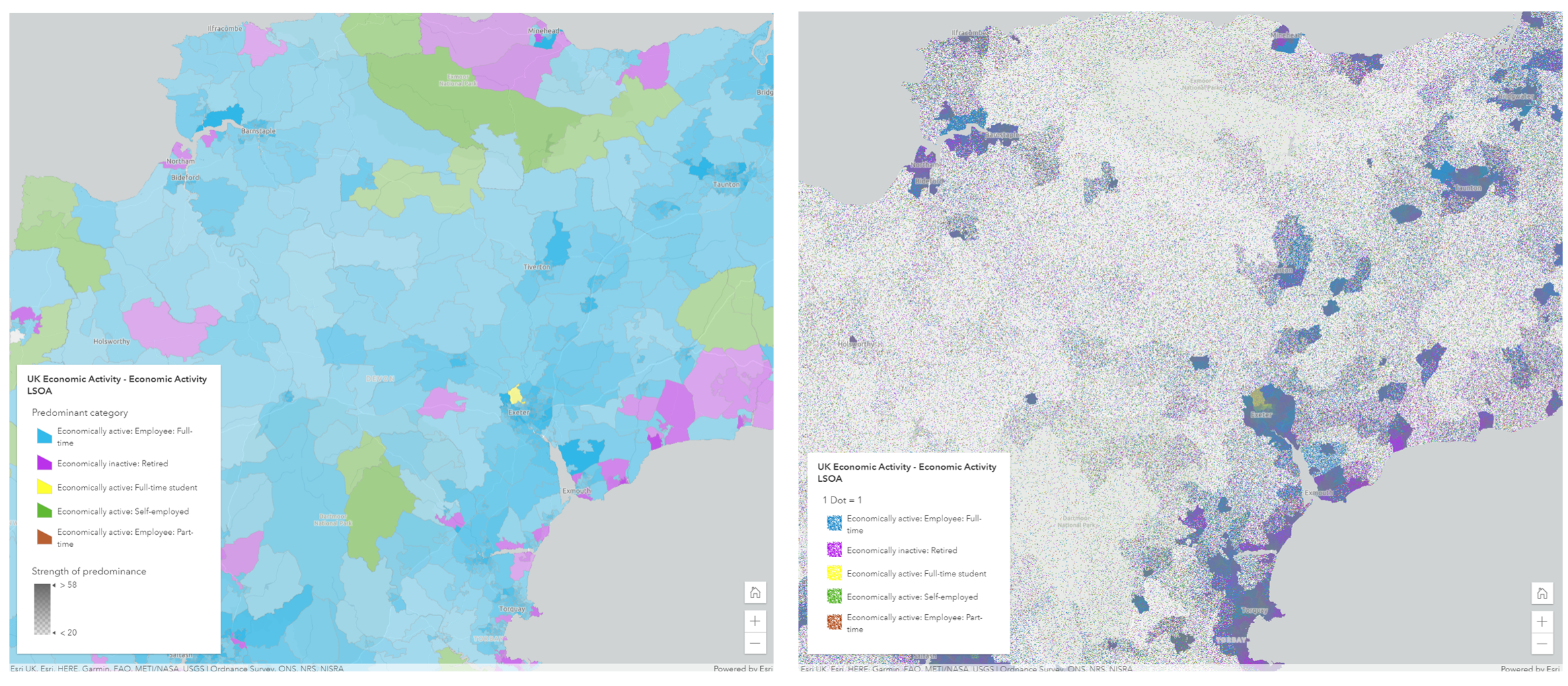 Predominant category versus dot density mapping styles
