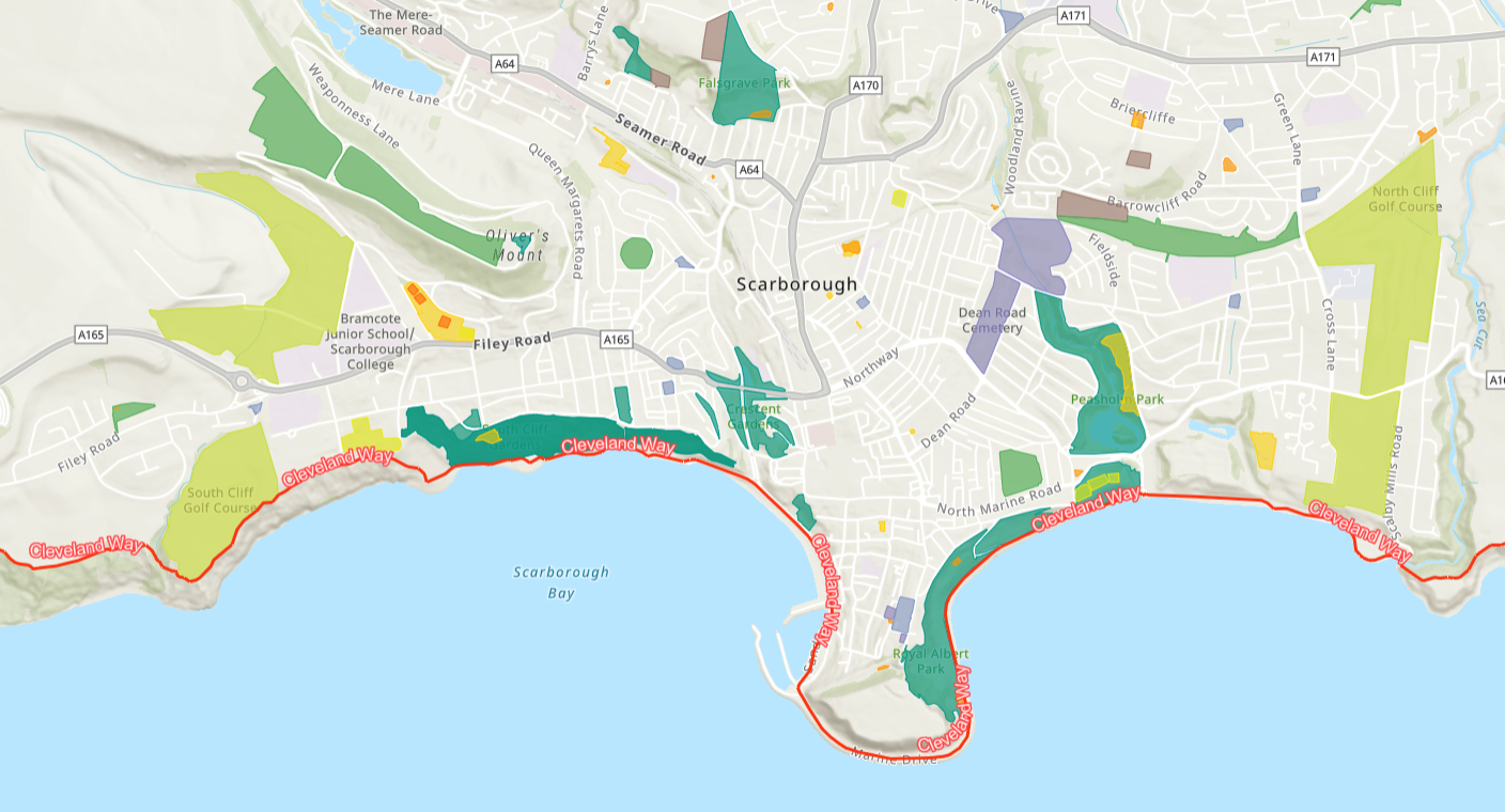 Map of Scarborough oriented to the coastline