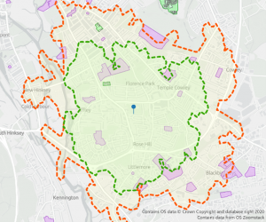 Access to Medical Centres within a 20-minute (green) and 30-minute (orange) walk of a residential property in Oxford.
