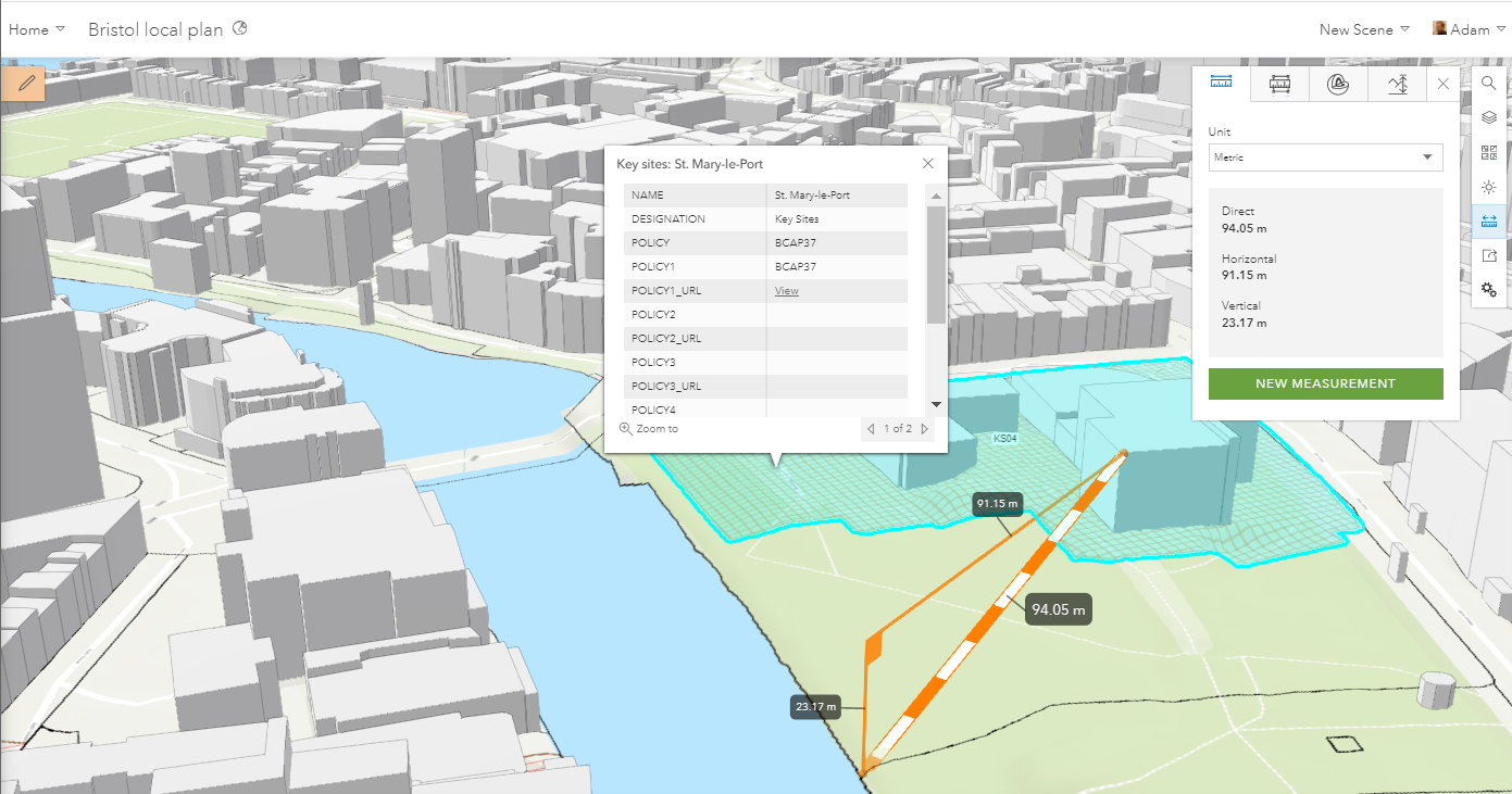 Using Bristol City Council's local plan services in a 3D scene