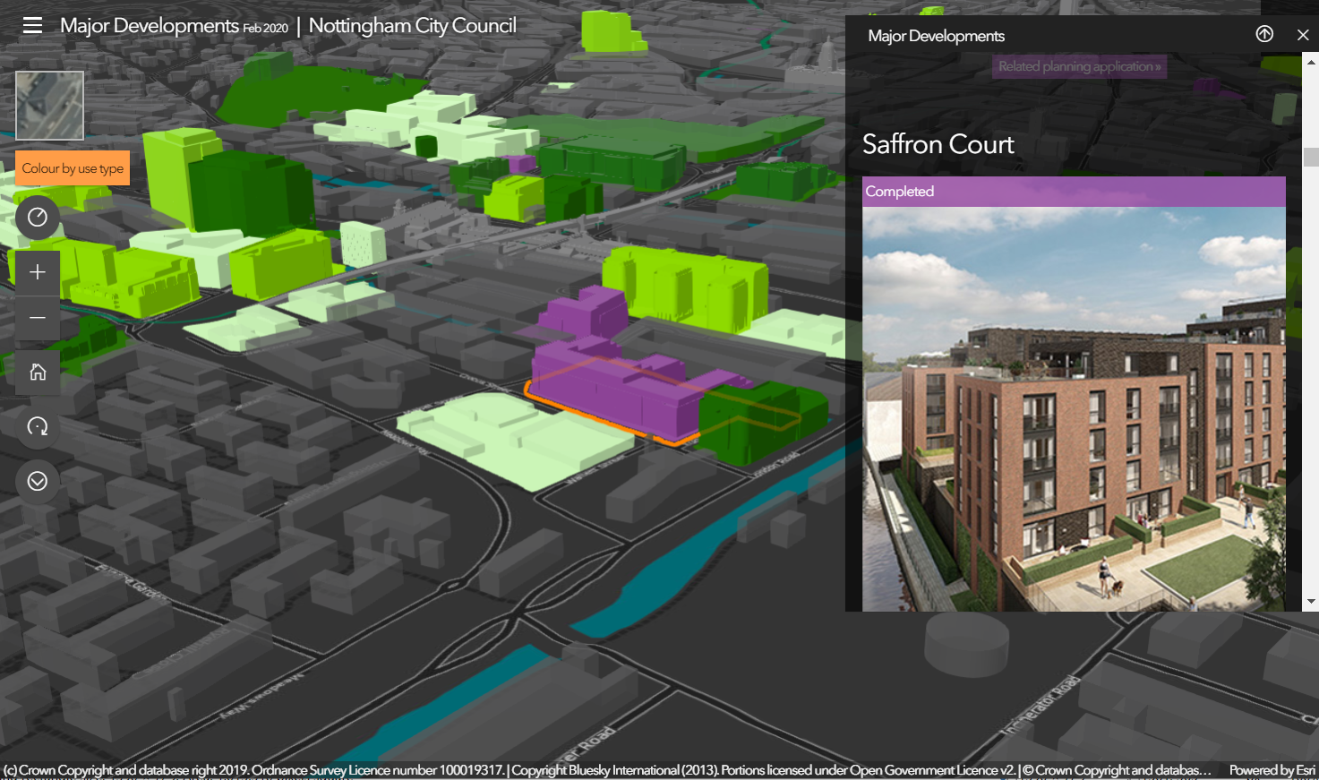 Nottingham City Council development plan presentation using ArcGIS