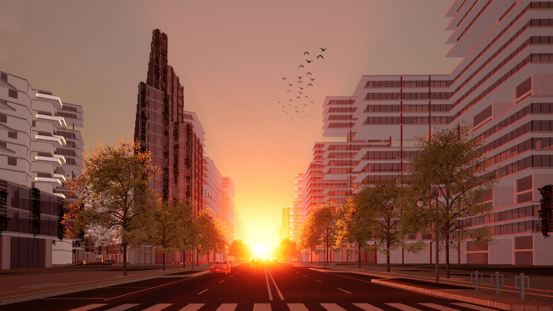Example of a photo-realistic representation of a development