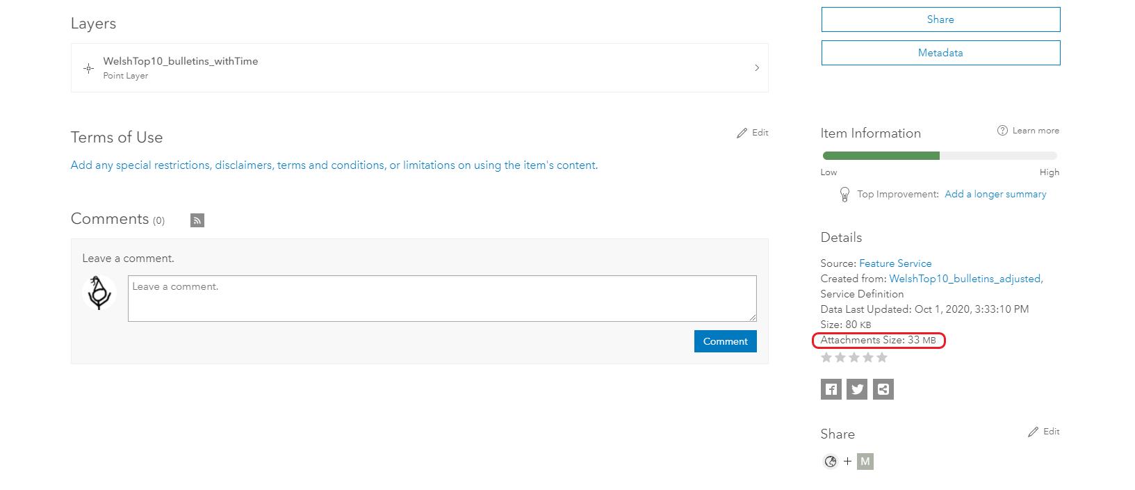 ArcGIS Online item view showing attachment storage