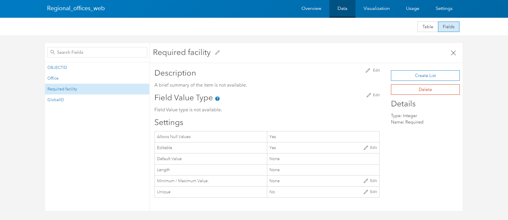 ArcGIS Online field edit settings