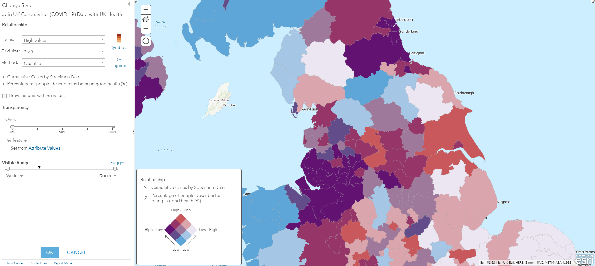 A bivariate map showing the relative value of two statistics for local authority areas