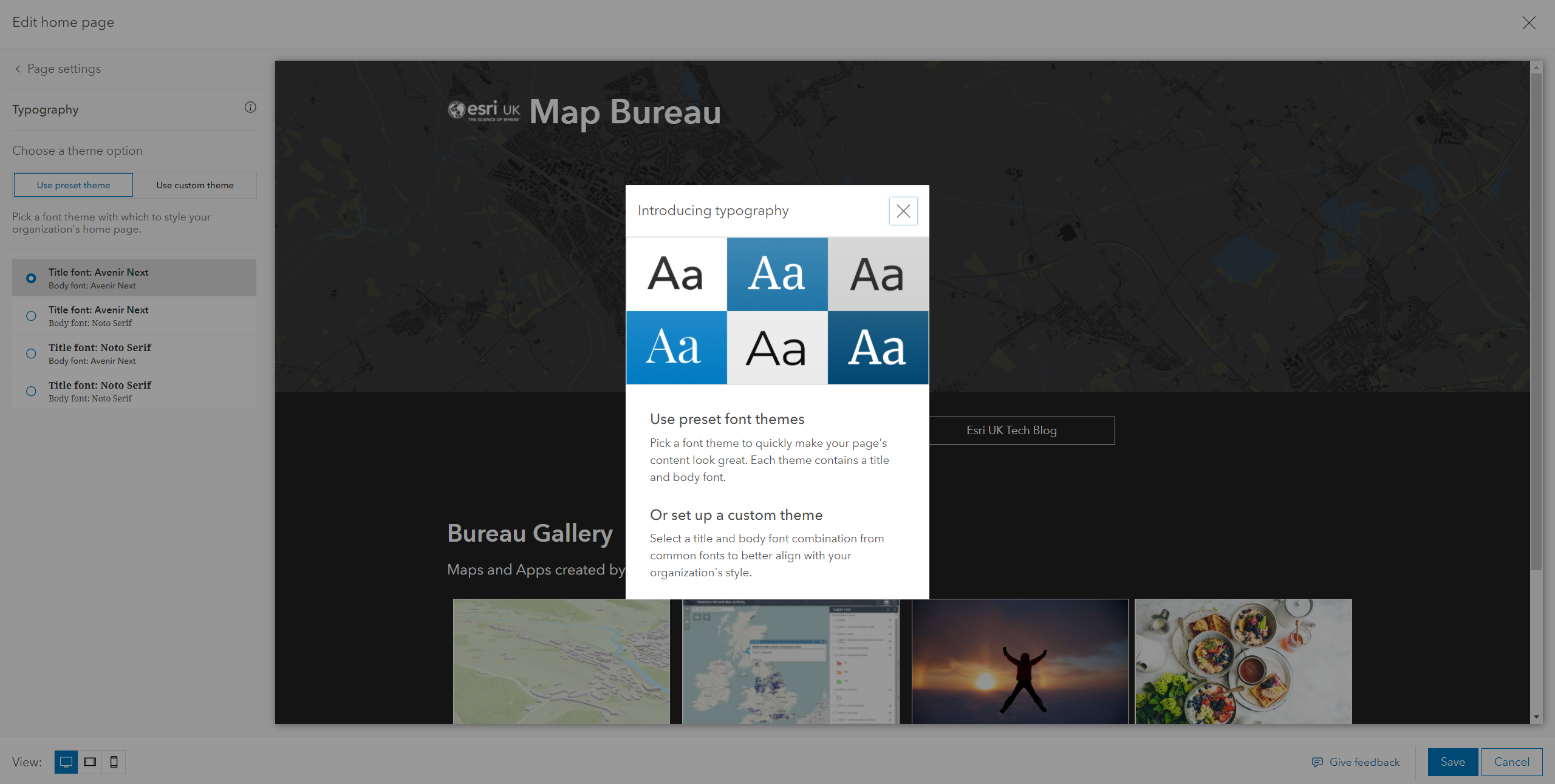 Font selection in the Homepage Editor
