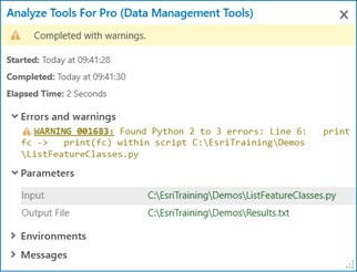 Analyze Tools for Pro output