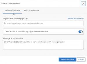 Partnered collaboration invitation dialog