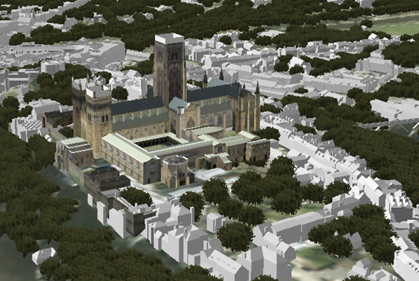 Cathedral model in a 3D scene