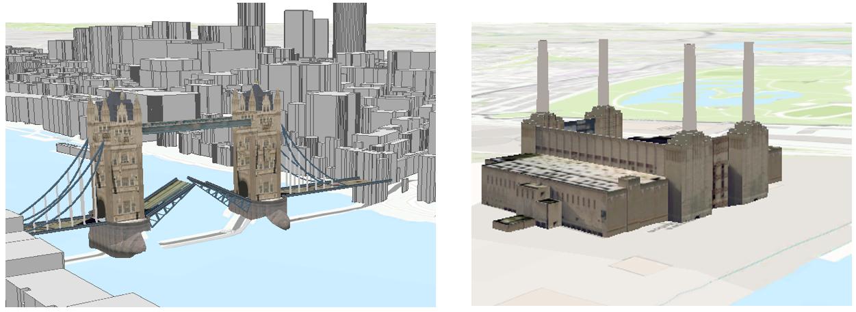 3D models of Tower Bridge and Battersea