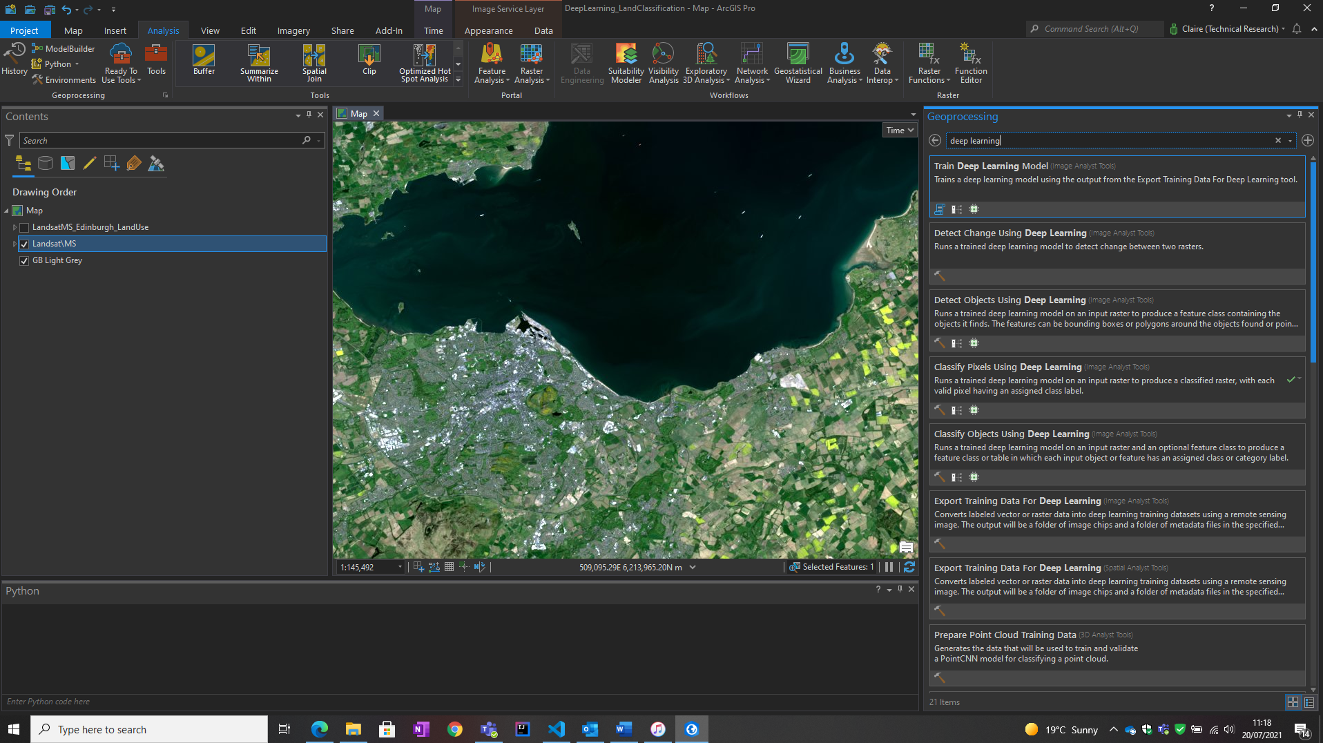 Running a Deep Learning tool in ArcGIS Pro