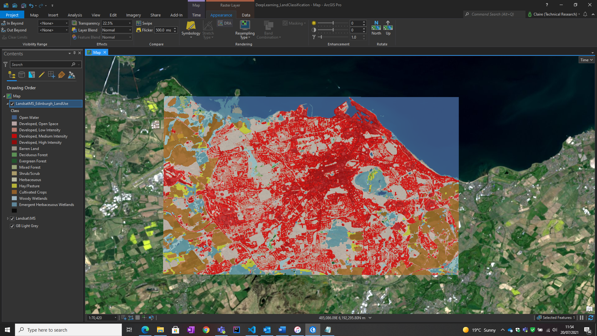 Land classification result in ArcGIS Pro