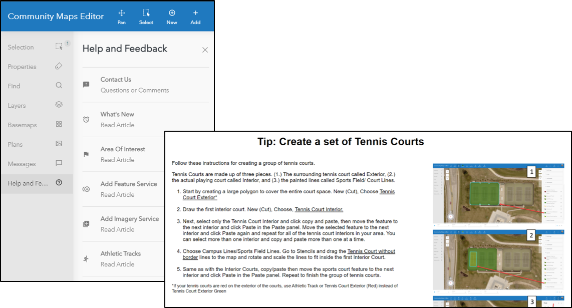 Tip instructions of how to create a set of tennis courts