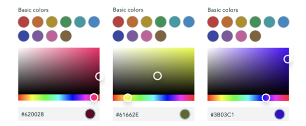3 colour pallets optimised for visual accessibility