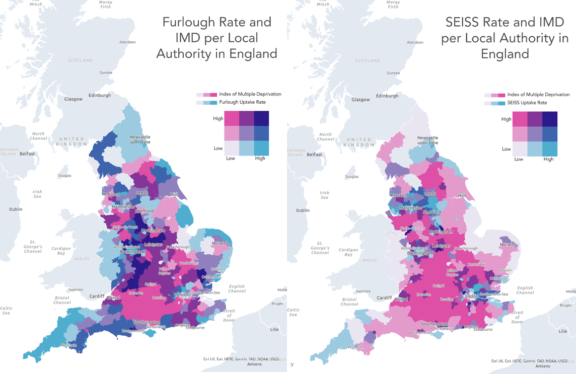 Bivariate map of the government support schemes