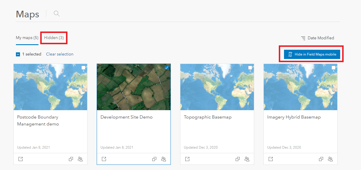 Hiding maps in ArcGIS Field Maps