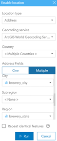 Running the geocoding service in ArcGIS Insights