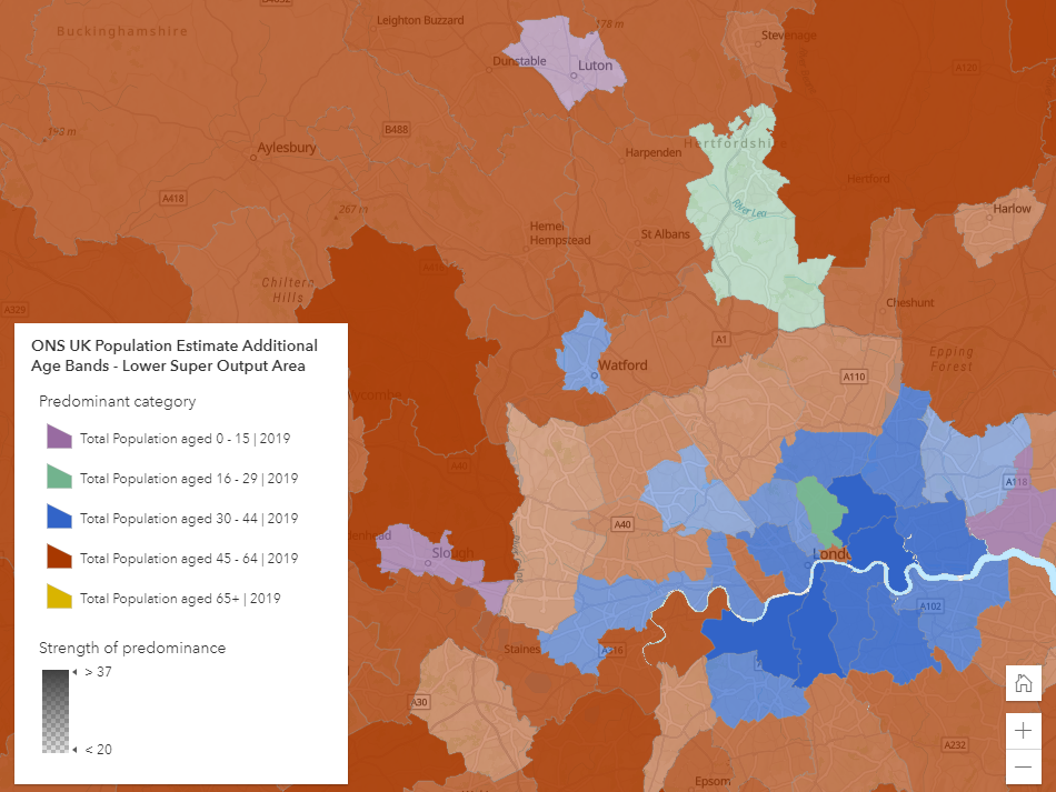 Office for National Statistics Mid-Year Population Estimates showing predominant age categories around South East England.