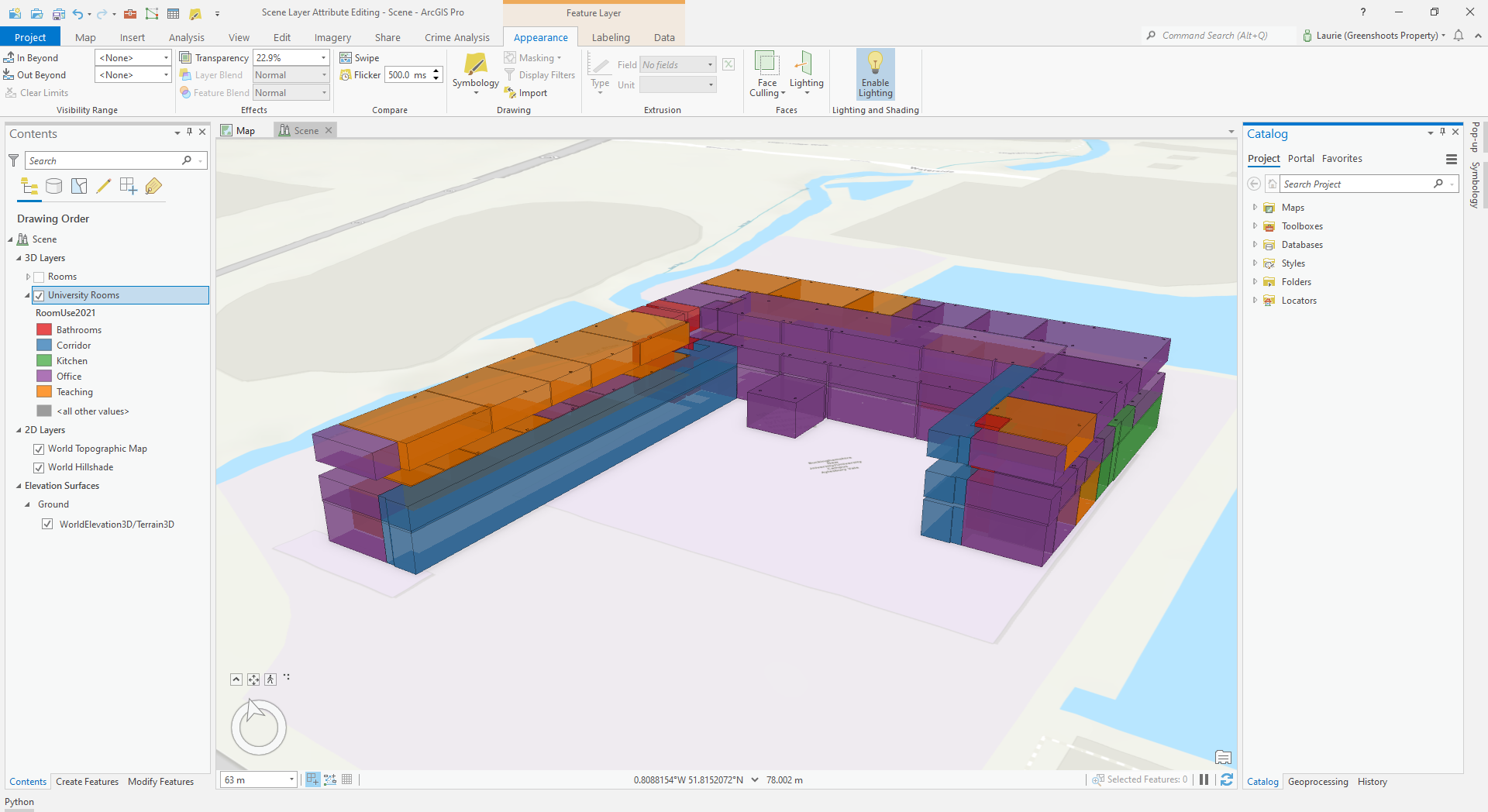 ArcGIS Pro Scene showing room spaces in a building, symbolised by room type.