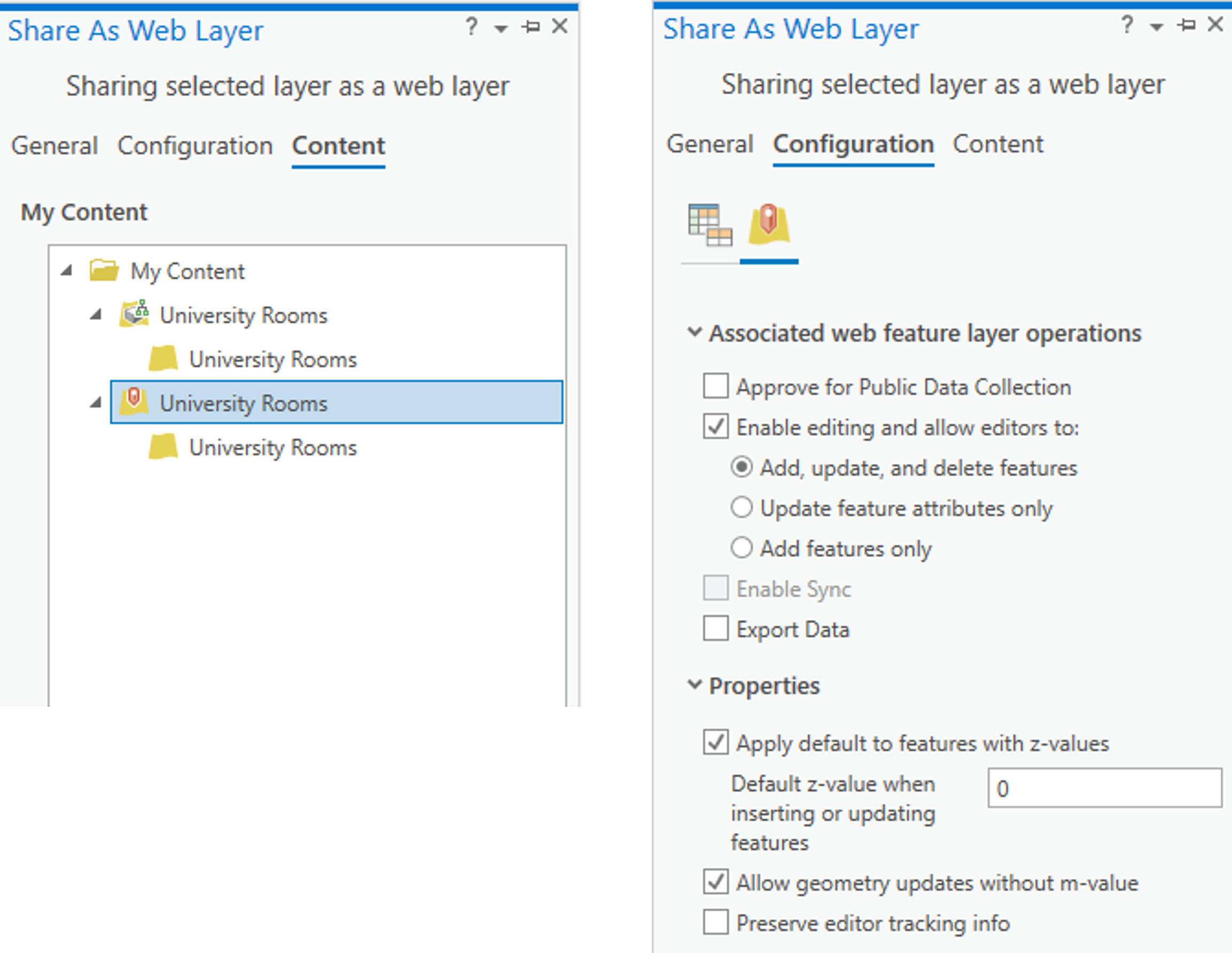 Sharing the web layer in ArcGIS Pro.