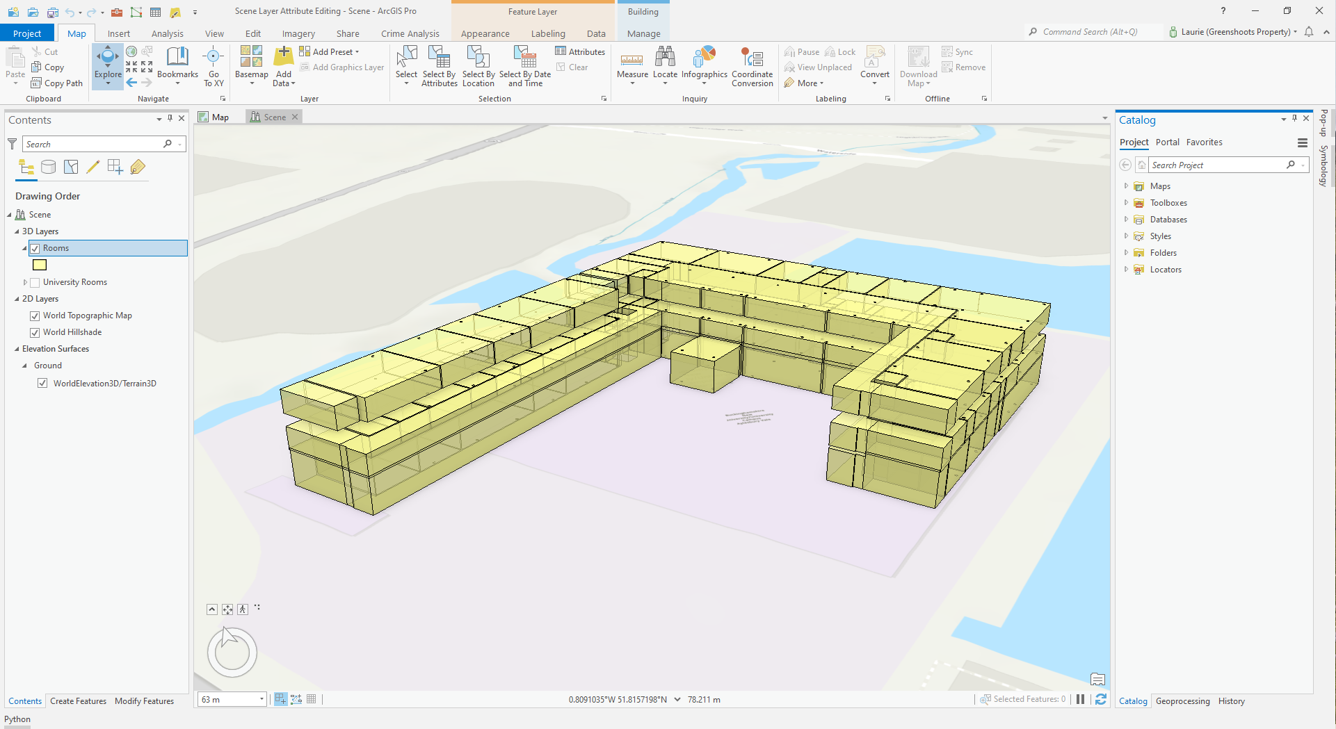 ArcGIS Pro Scene showing room spaces in a building.