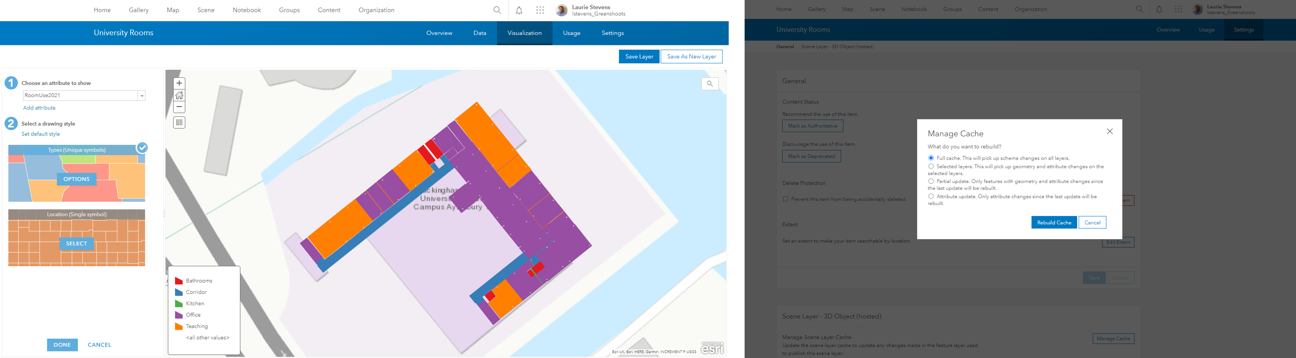 Updating the symbology in ArcGIS Online and managing the cache.