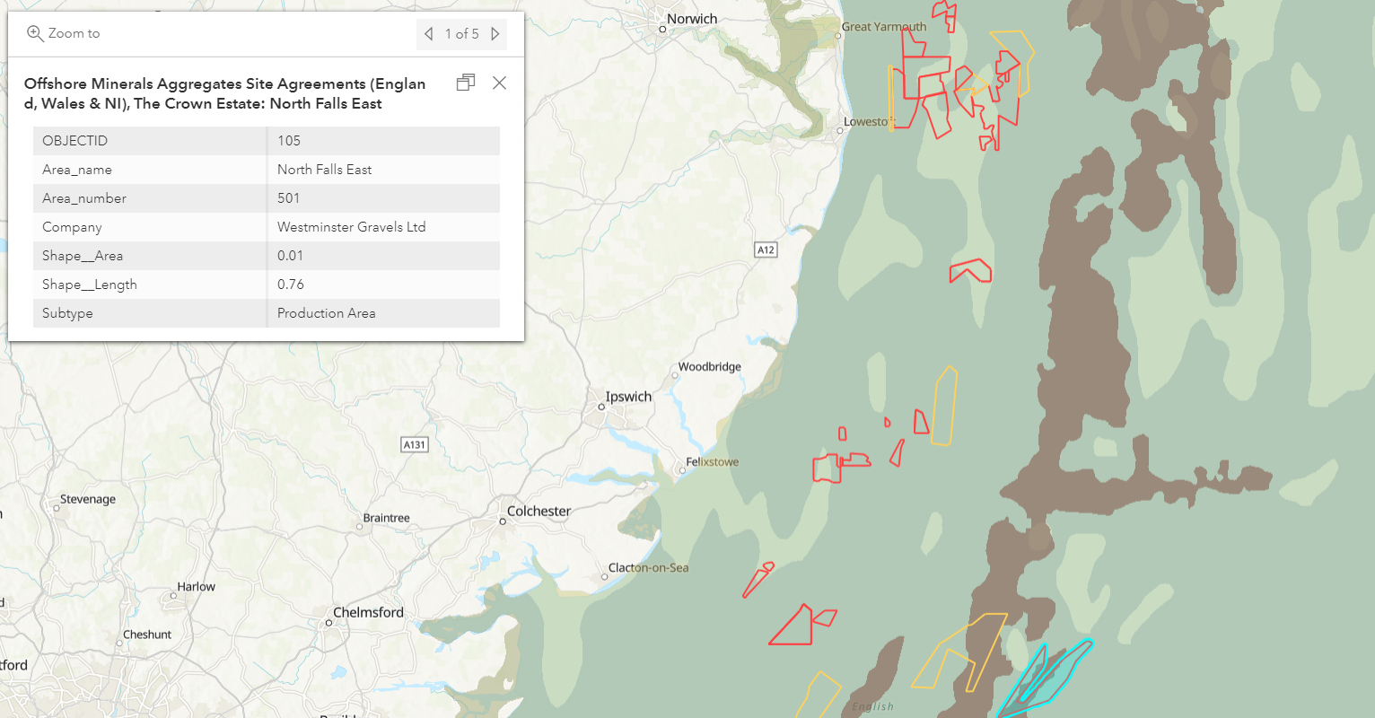 Seafloor geomorphology and licensed areas