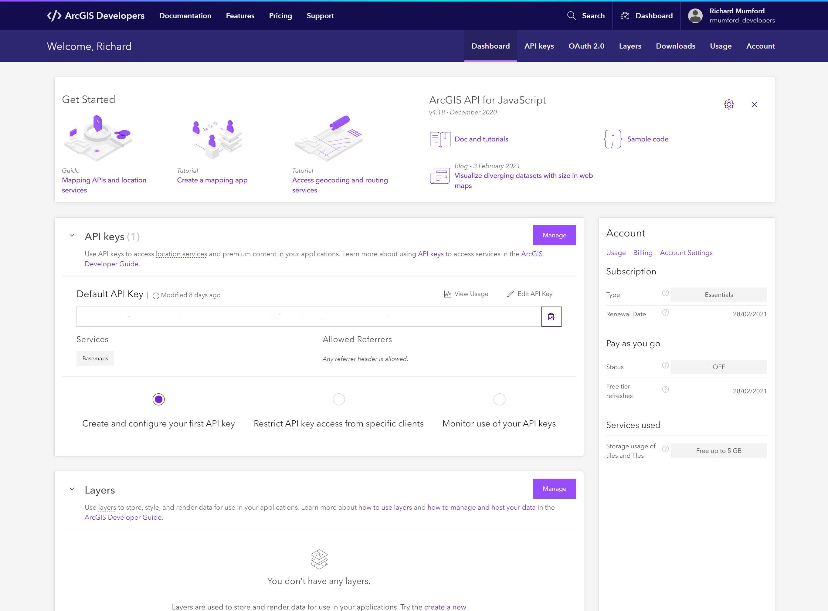 ArcGIS Platform developer dashboardsboard