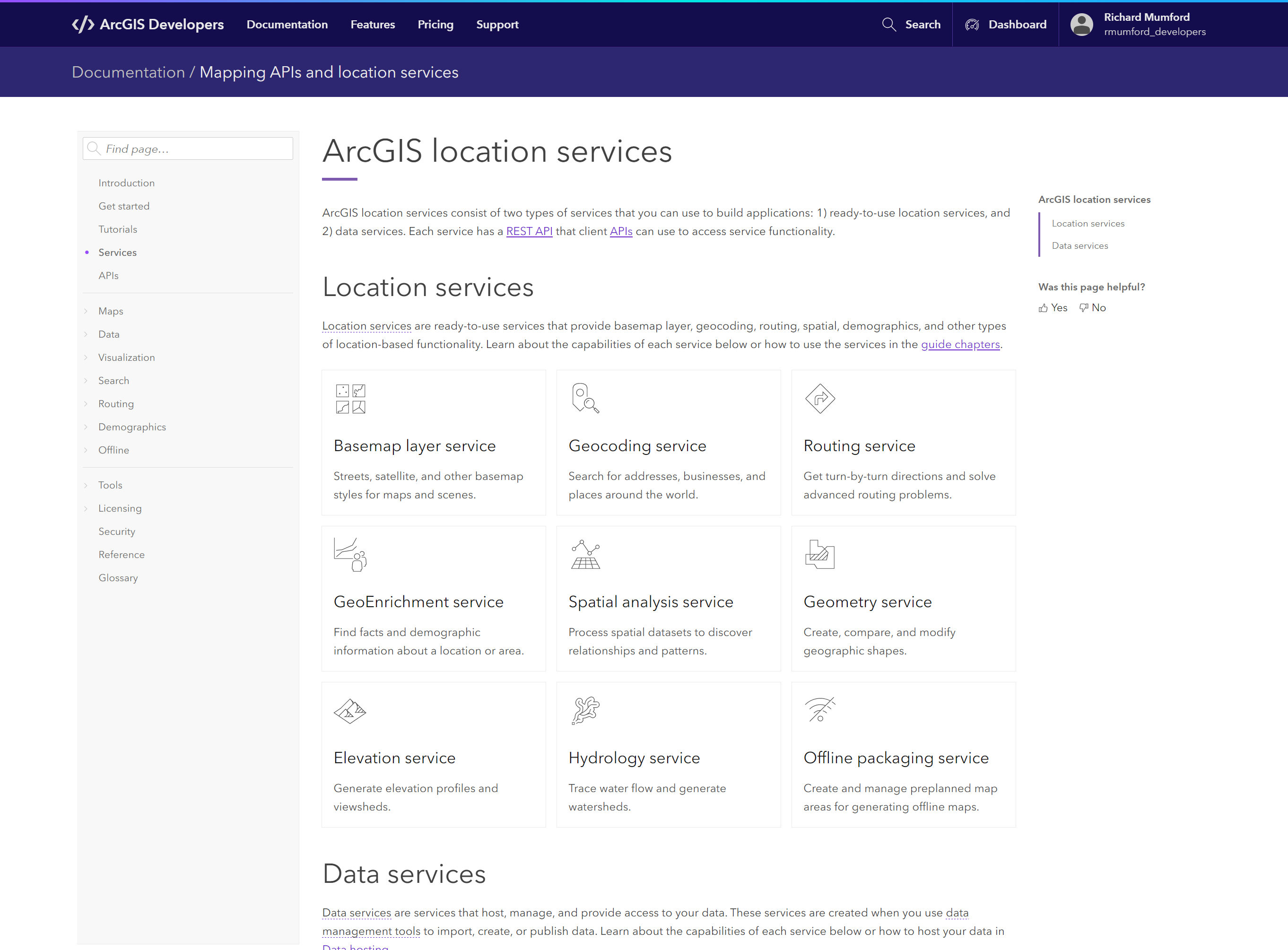 Mapping APIs and services page