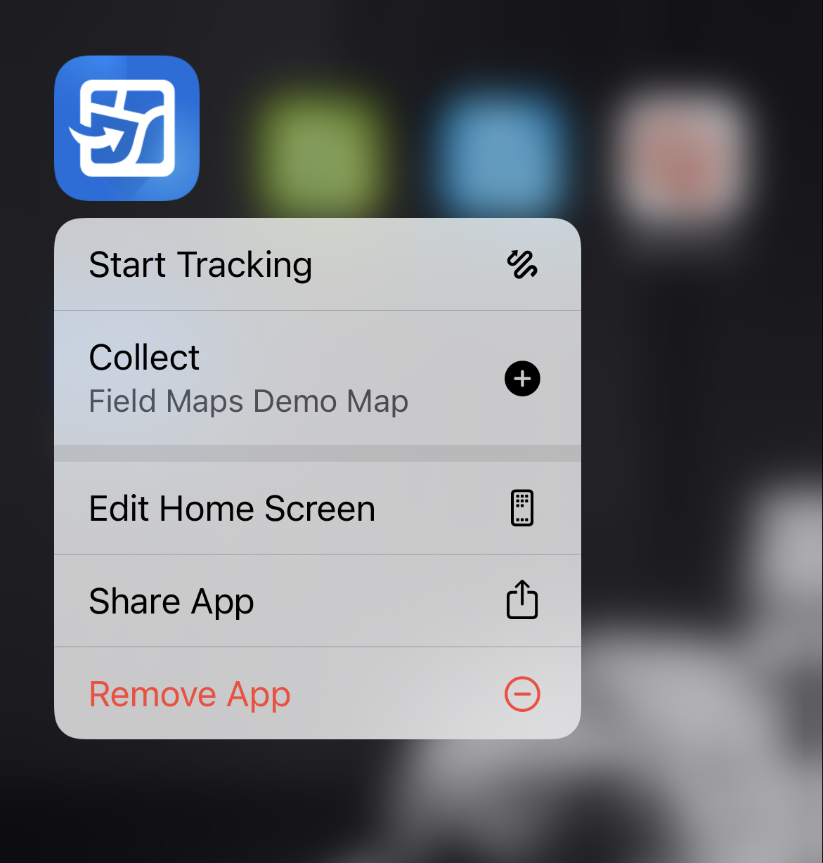 screenshot of a phone with quick options to start tracking shown