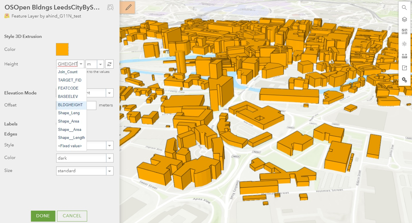 2D polygons extruded by a building height attribute to create a basic 3D urban model.