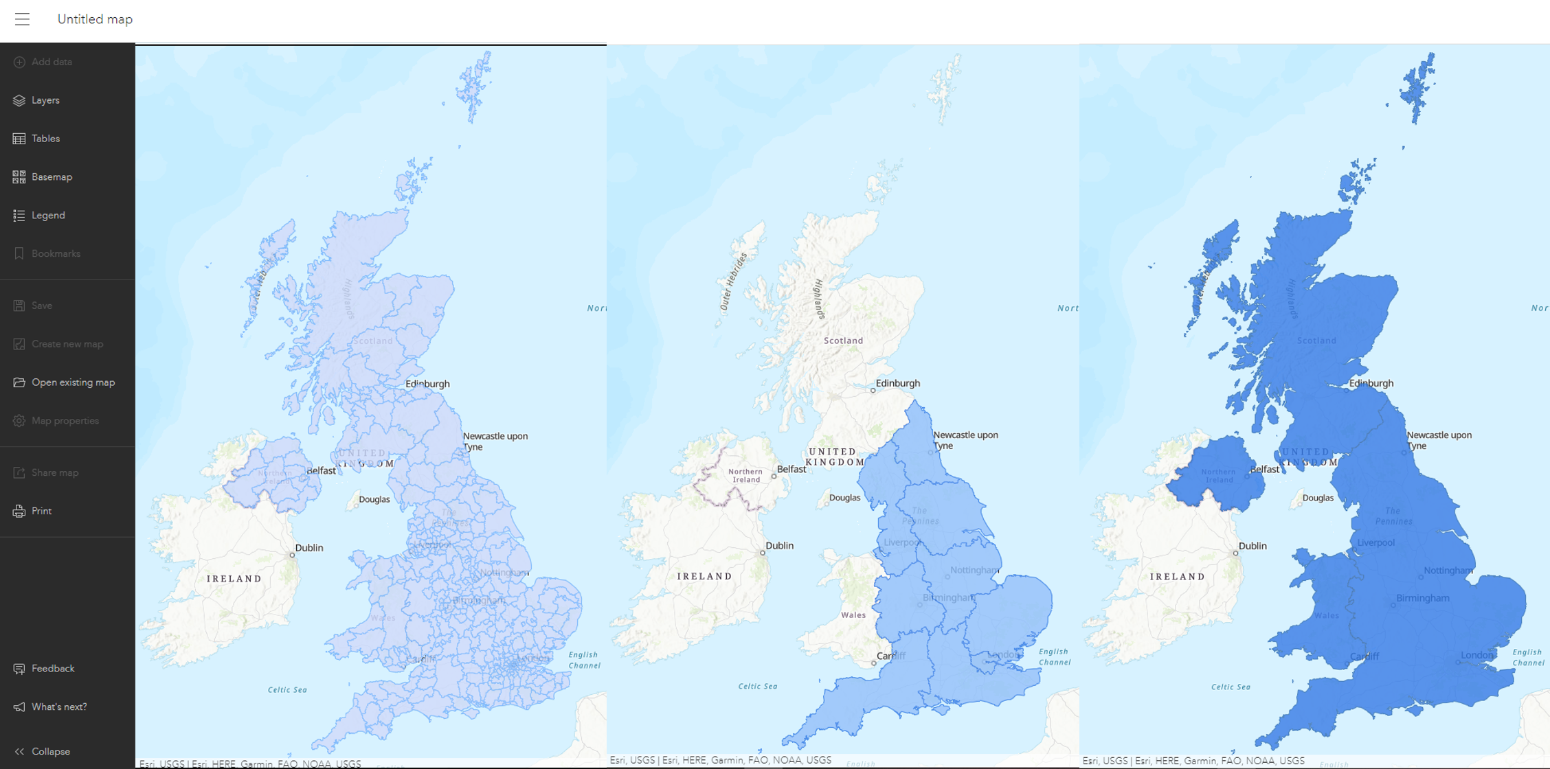 Side by side of Nations, Regions and Local Authority layer with default symbology in the ArcGIS Online Map Viewer.