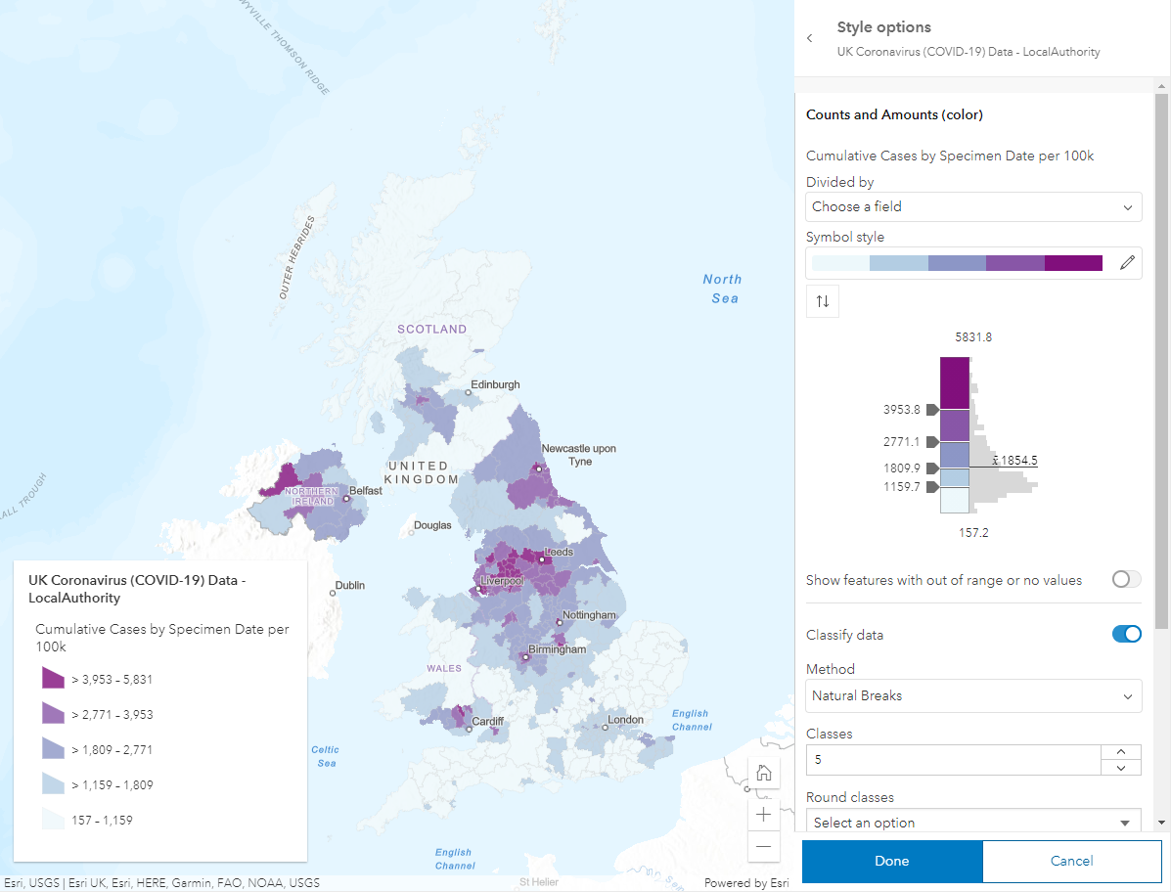 Map of UK showing rate of cumulative cases with data classification method- Natural Breaks.