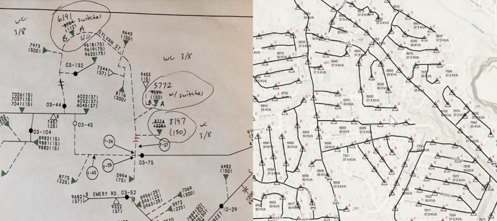 Left side paper maps and right side map in Utility Network Editor