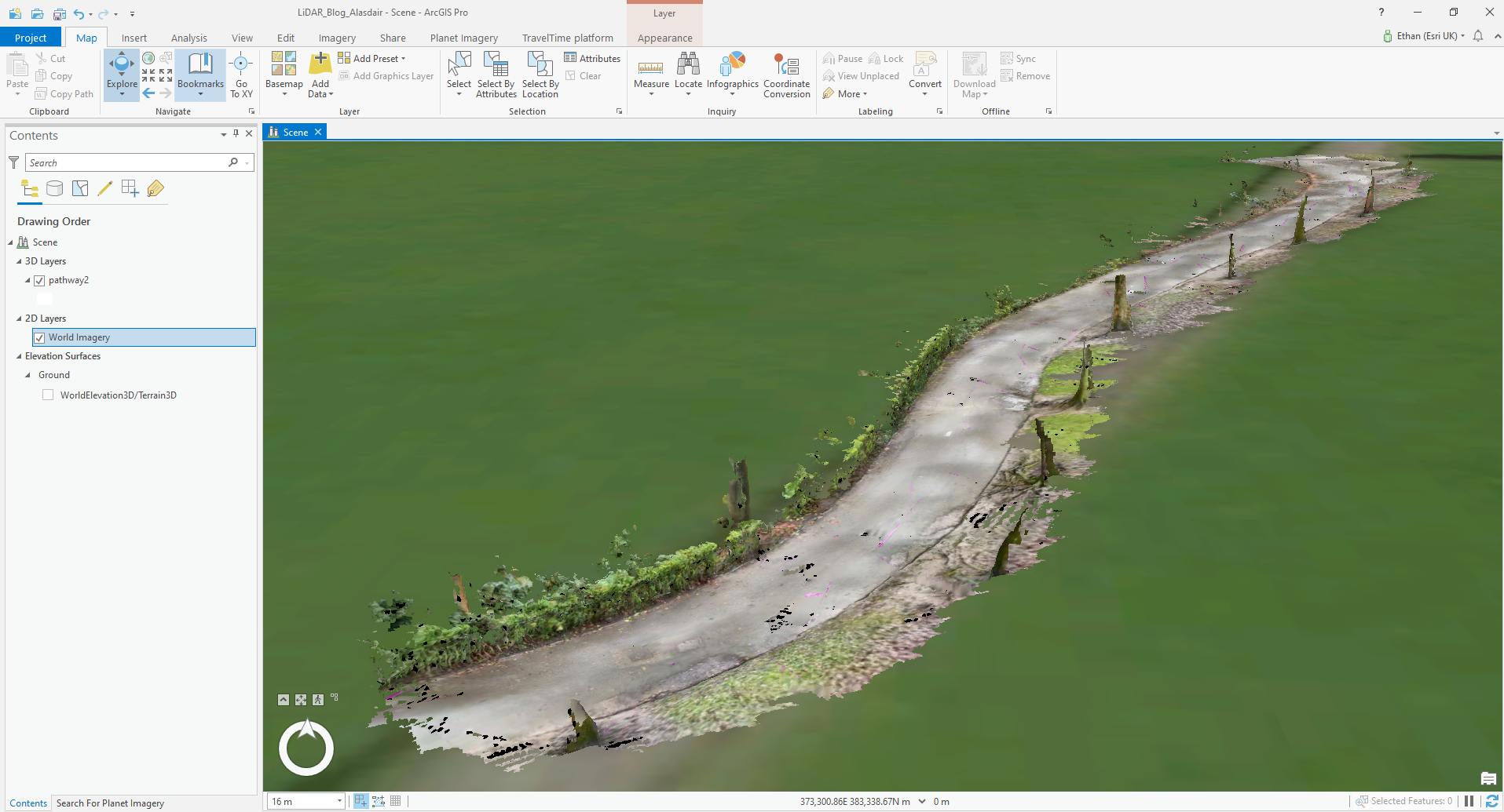 3D scan of a path in ArcGIS Pro
