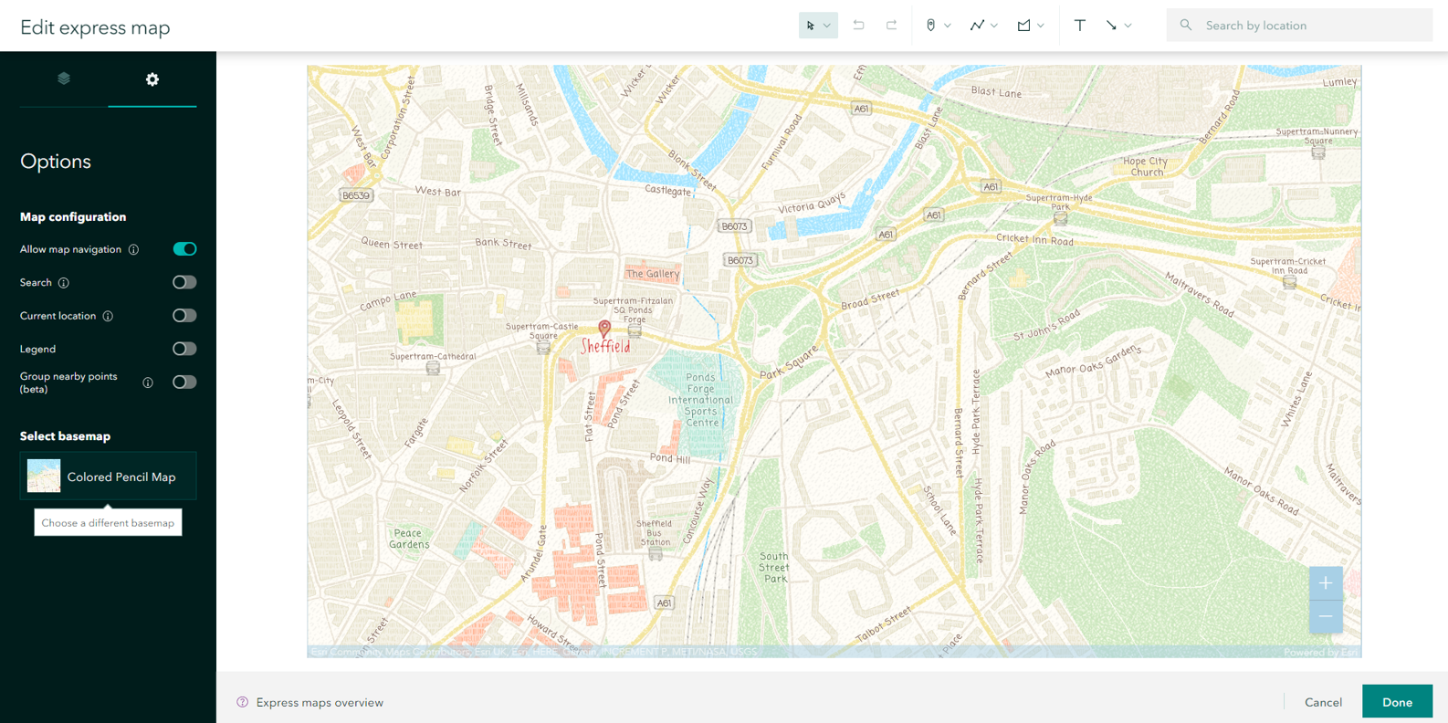 Colored pencil basemap is available in the new express maps.