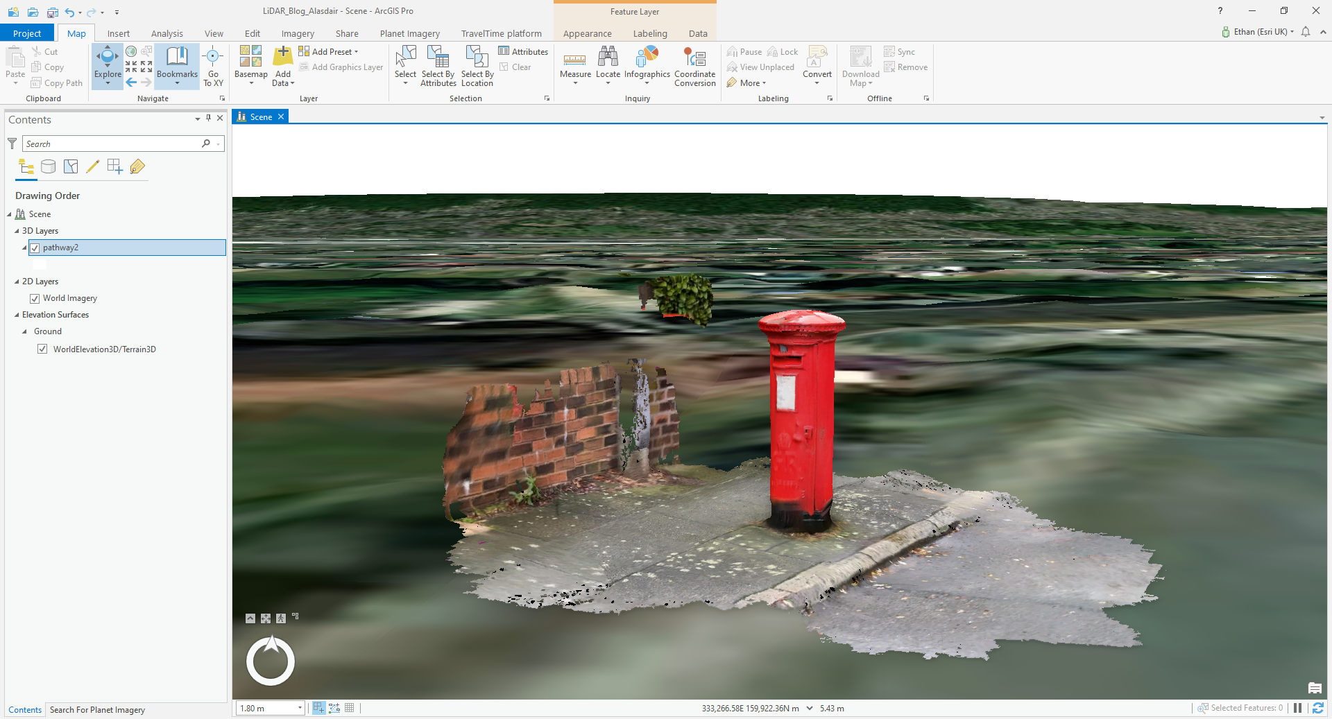 3D scan of a post box in ArcGIS Pro