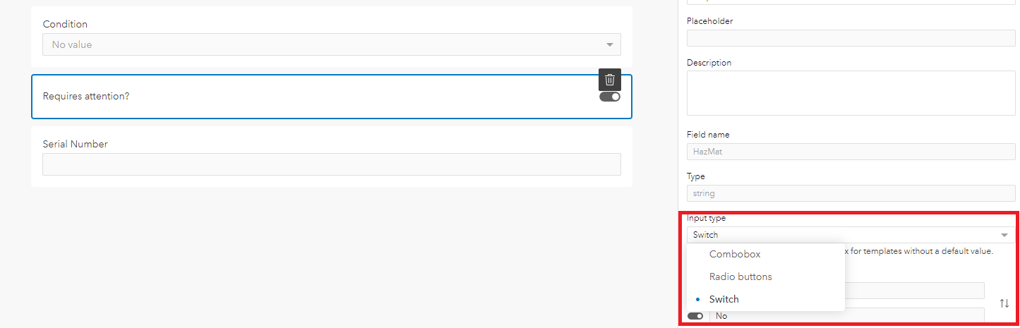 Smart form builder with switch option selected