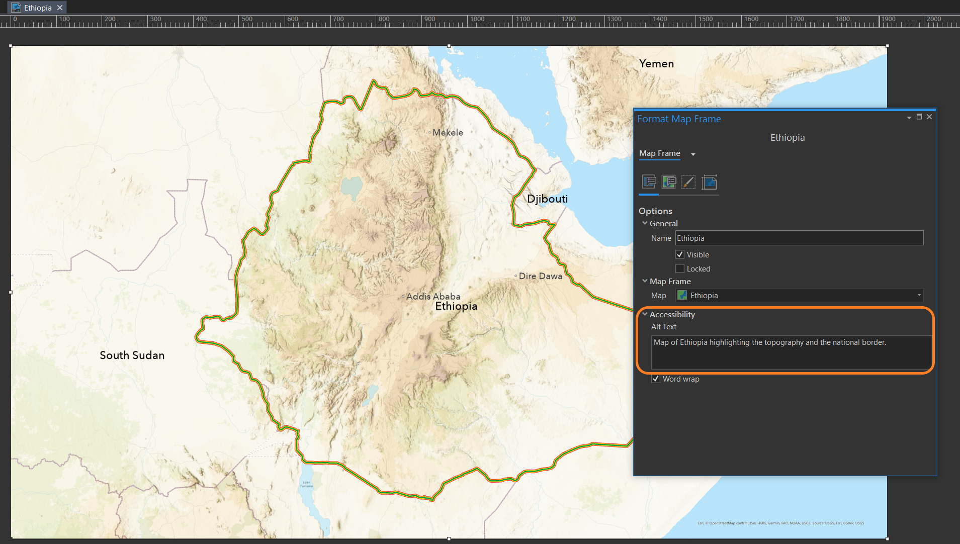 Adding Alt Text to a map frame in an ArcGIS Pro Layout