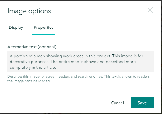 Adding alternative text in the Image options dialog in ArcGIS Storymaps