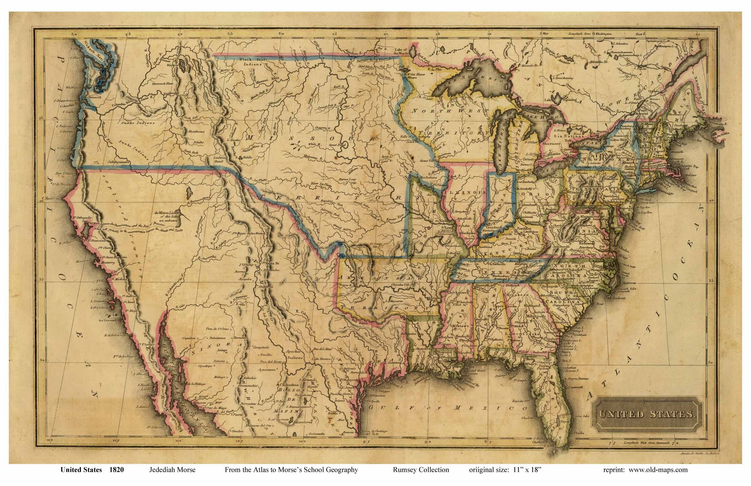 old map of the united states