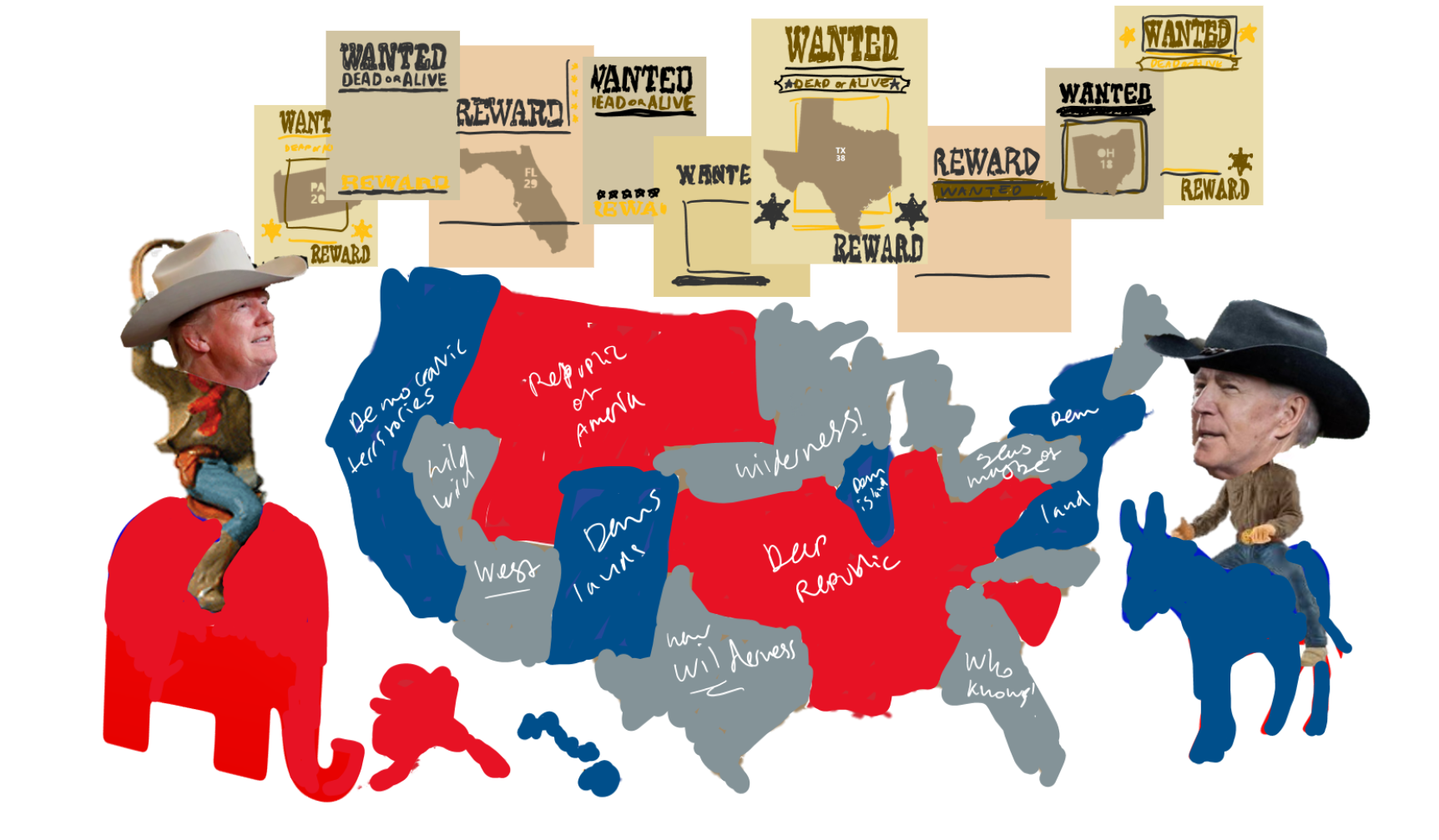 Sketch of Trump and Biden as cowboys in front of an election map with wanted posters